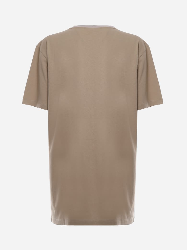 Loewe Cotton T-shirt With Contrasting Anagram Print - Beige, orange