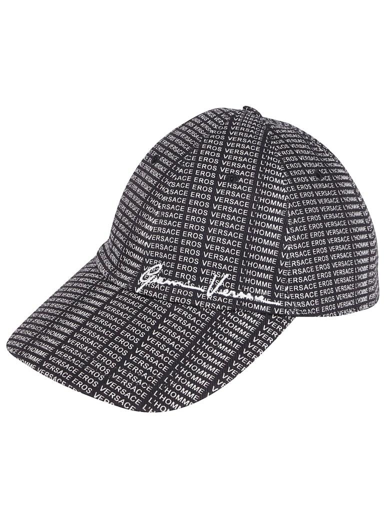 Versace Logo Baseball Cap - BLACK WHITE