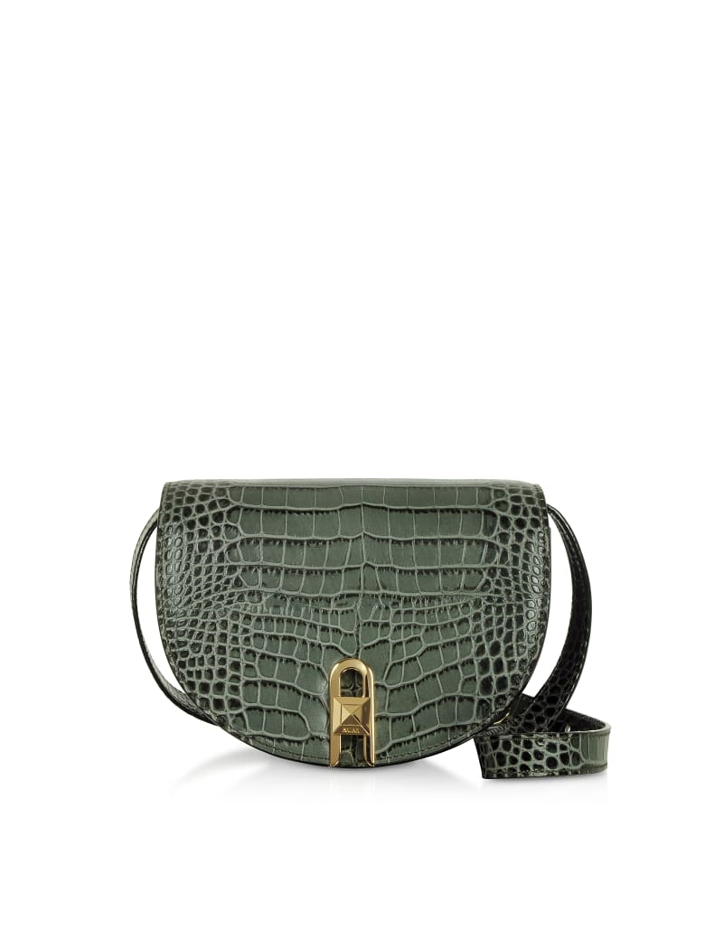 Salar Frida Croco Embossed Leather Crossbody Bag - Green