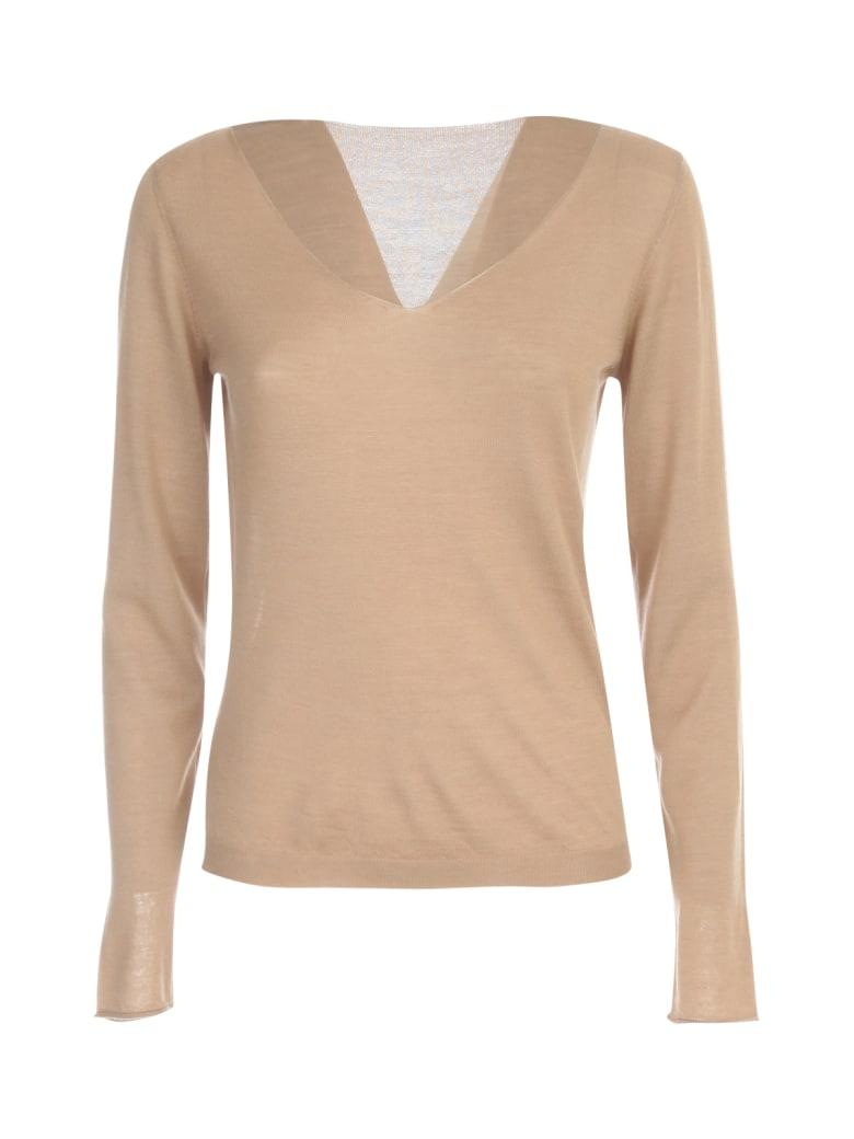 Nuur V Neck Wool & Silk Sweater - Light Camel