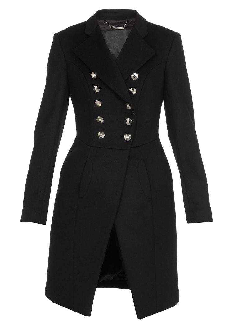 Philipp Plein Elegant Long Coat - black/nichel