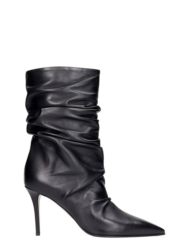 Le Silla Eva 90 High Heels Ankle Boots In Black Leather - black