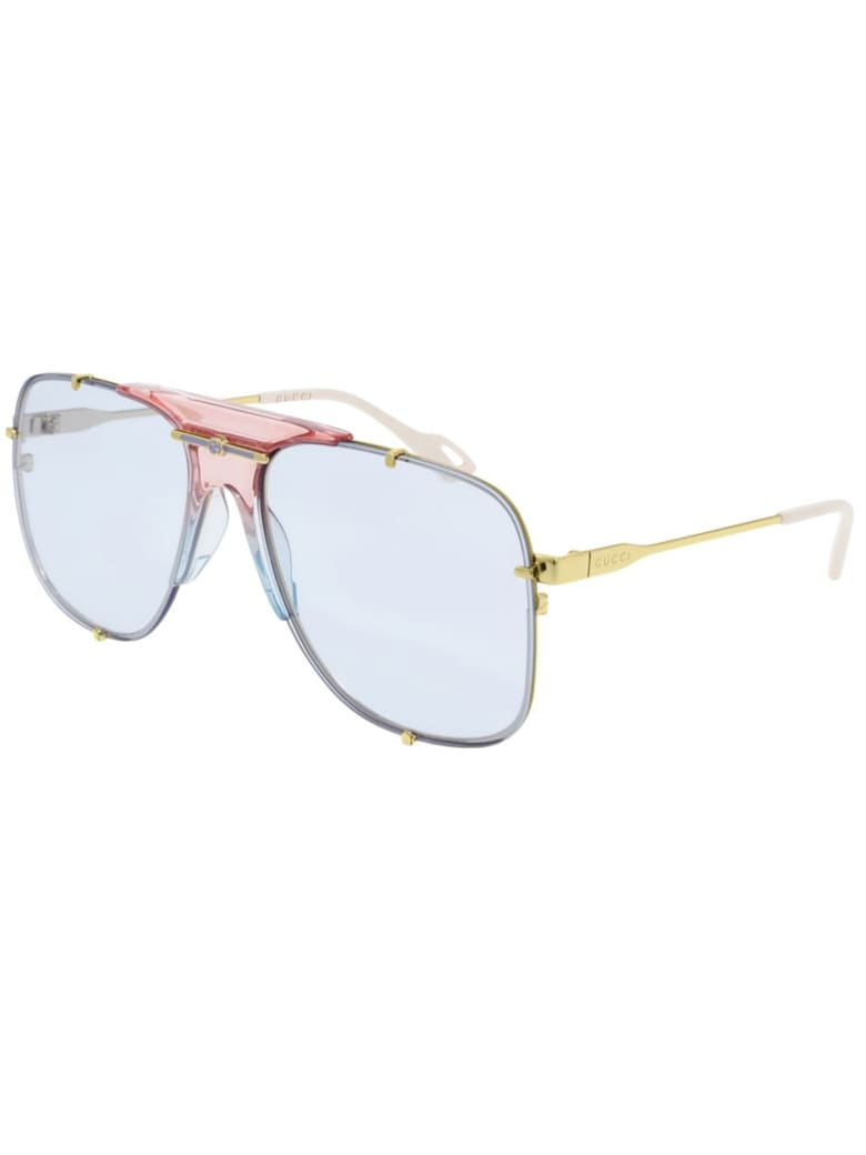 Gucci GG0739S Sunglasses - Gold Gold Light Blue