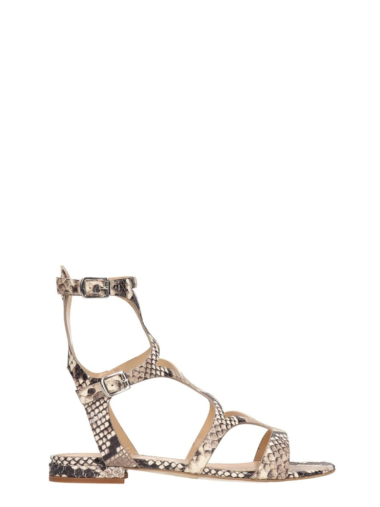 The Seller Python Print Leather Gladiator Sandals - grey