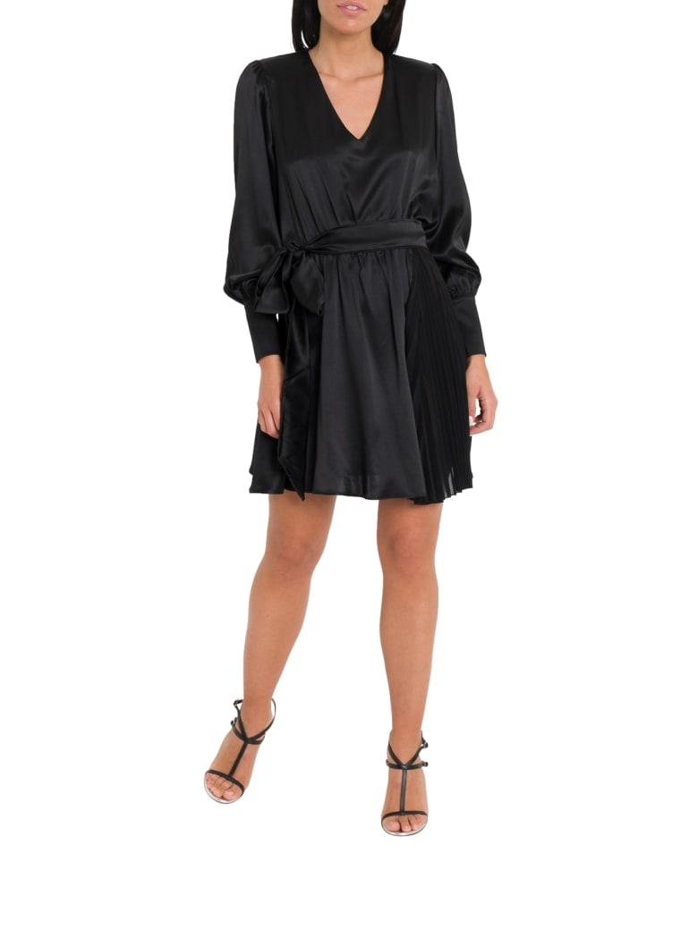 Federica Tosi Satin Dress With Ribbon On Waist - Nero