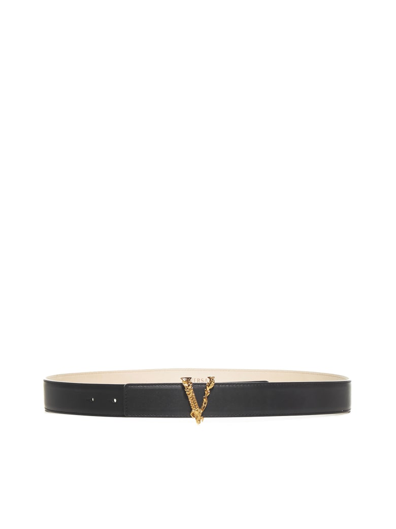 Versace Virtus Leather Belt - Nero oro