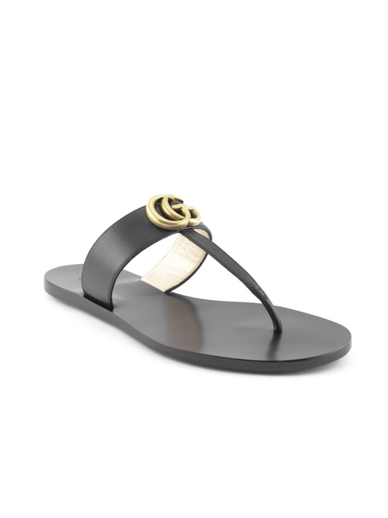 Gucci Black Leather Thong Sandal - Nero