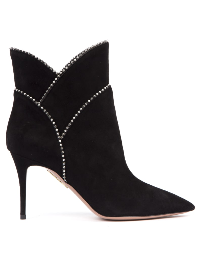 Aquazzura Black Suede Ankle Boots With Studs - Black