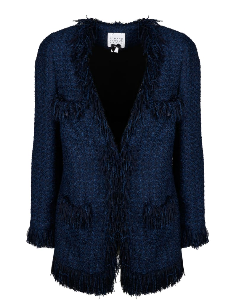 Edward Achour Paris Tweed Coat With Fringes - Blue