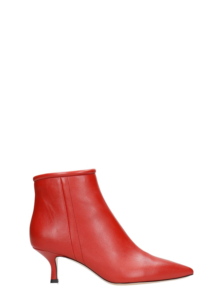 Fabio Rusconi Low Heels Ankle Boots In Red Leather - red