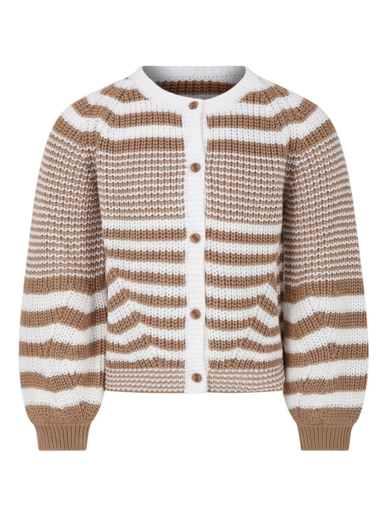 Douuod Multicolor Cardigan For Girl With Stripes - Ivory