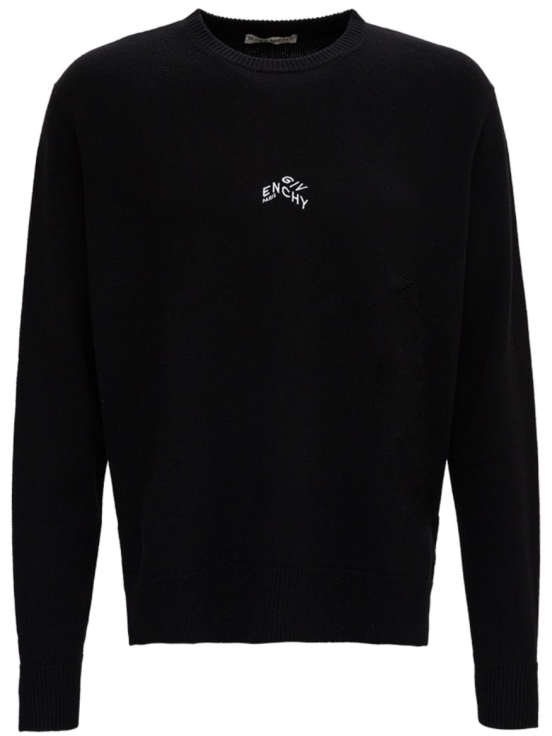 Givenchy Cashmere Sweater With Logo Print - Black