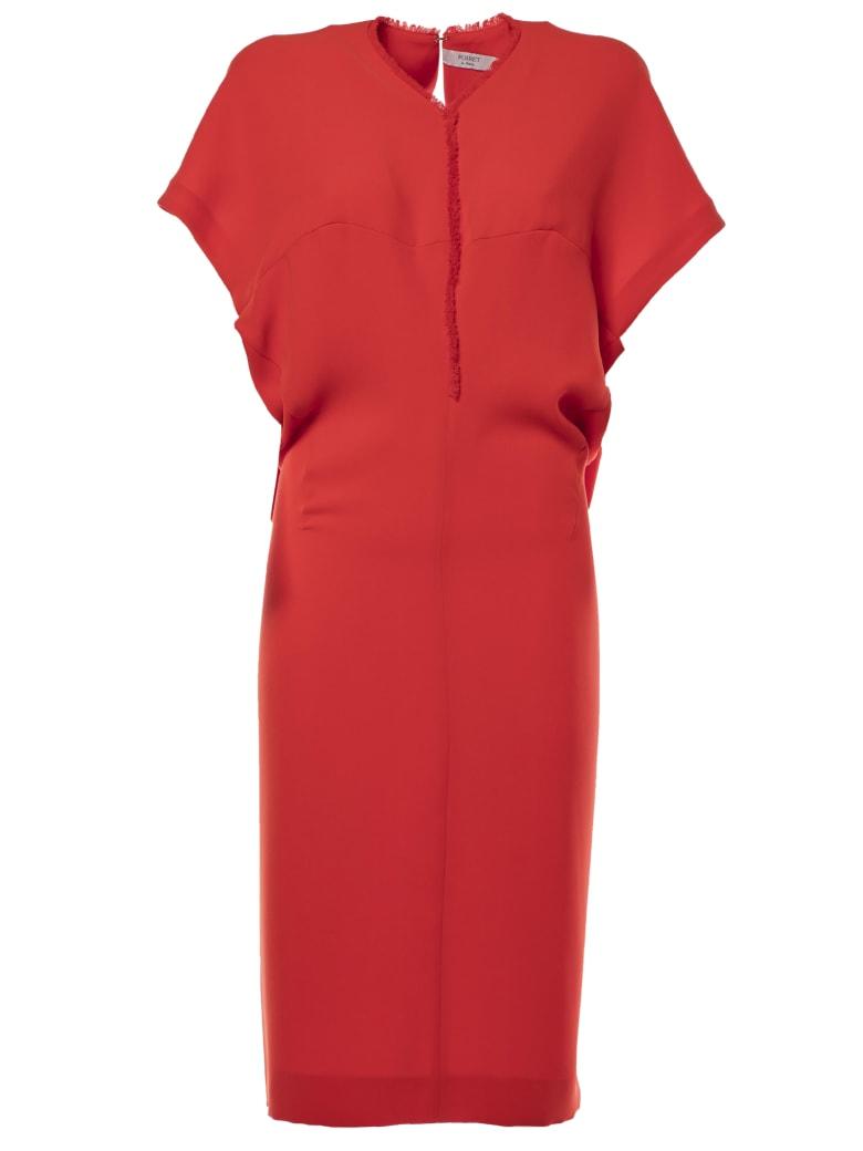 Poiret Frayed Detail Dress - Red