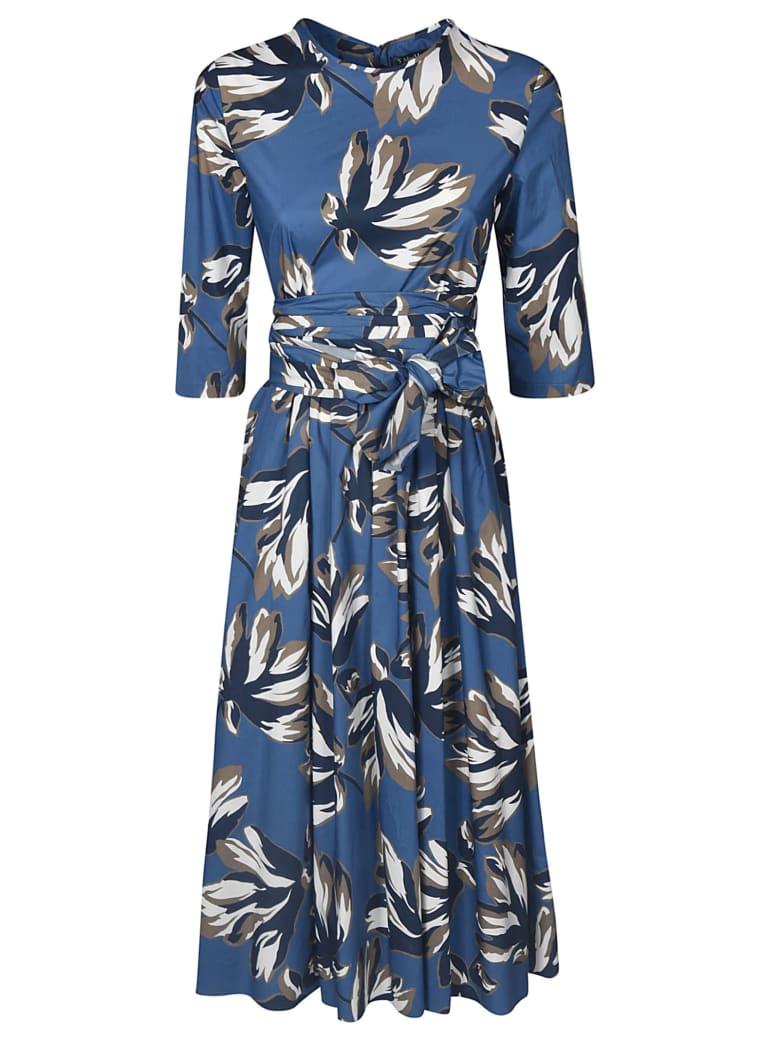 Max Mara The Cube Belted Bow-tied Waist Dress - Blue/Beige/Cream