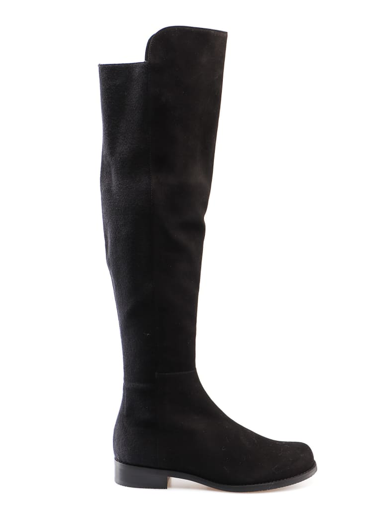 Stuart Weitzman Suede Elastic Boot - Black