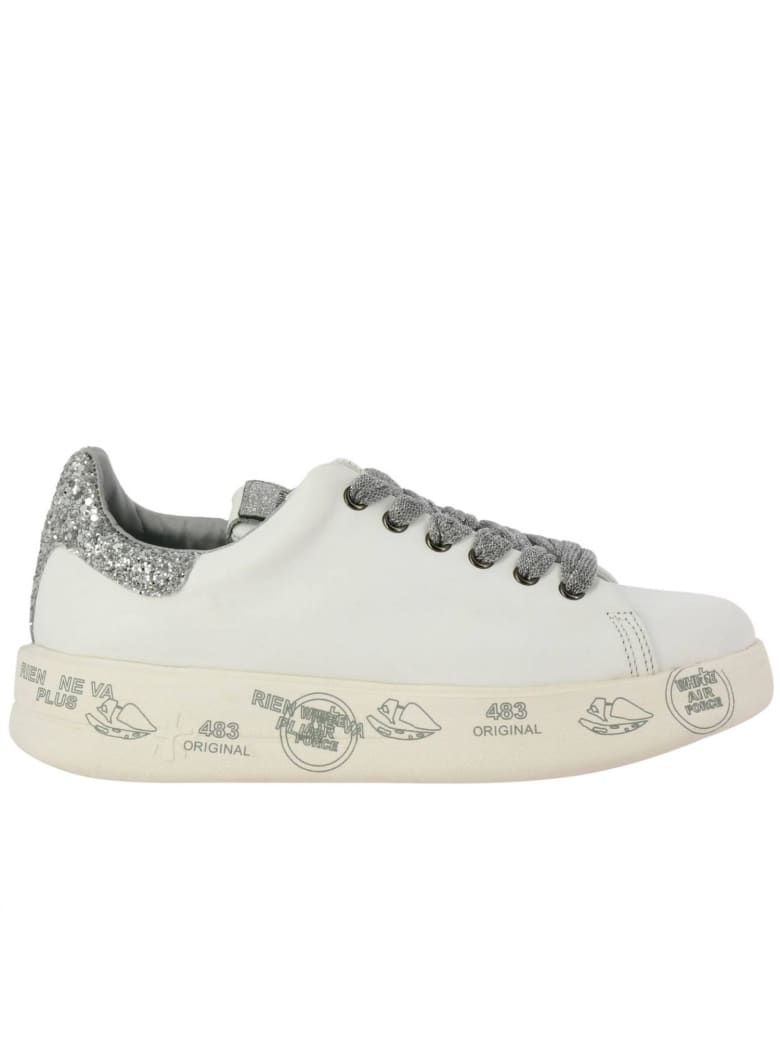 Premiata Sneakers Belle Premiata Sneakers In Leather With Maxi Platform Sole, Multi Prints And Glitter Details - white