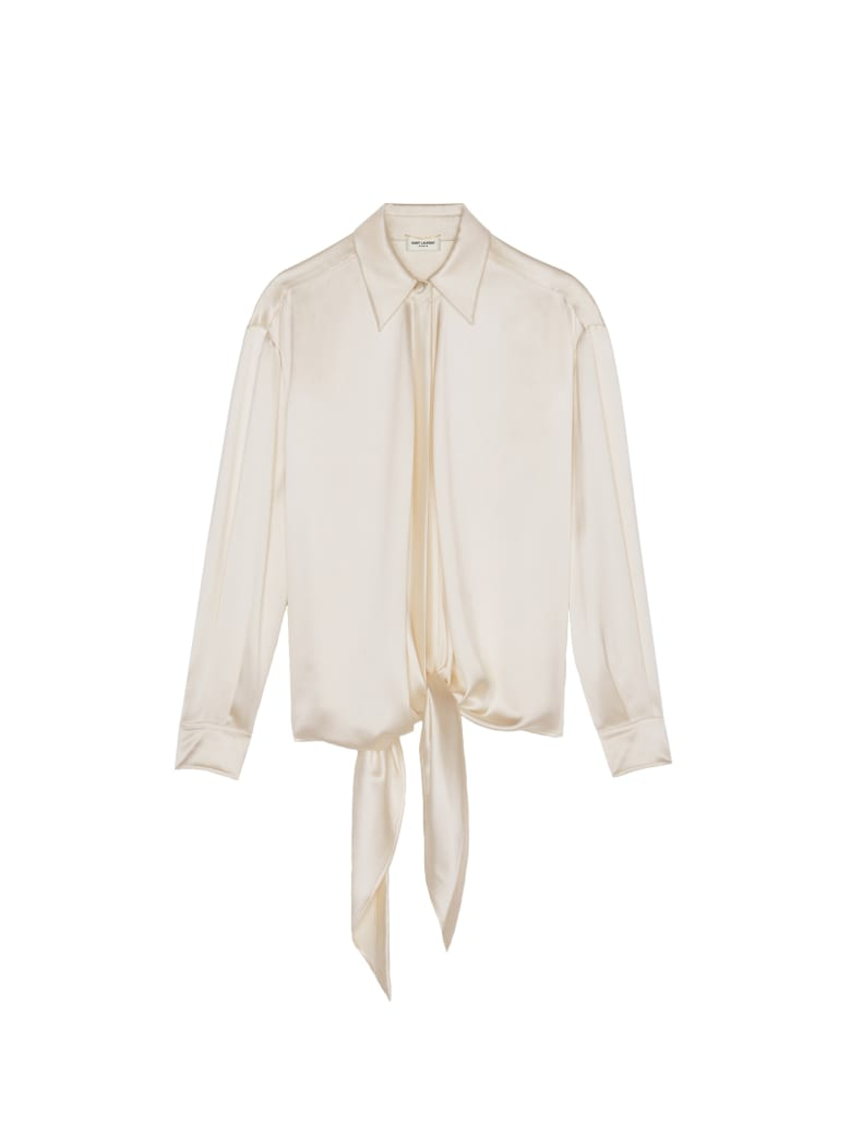 Saint Laurent Satin Plombant Shirt - Blanc Lait