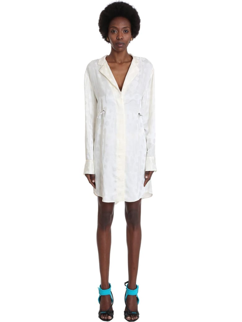 Off-White Jacquard Coulis Dress In Beige Viscose - White