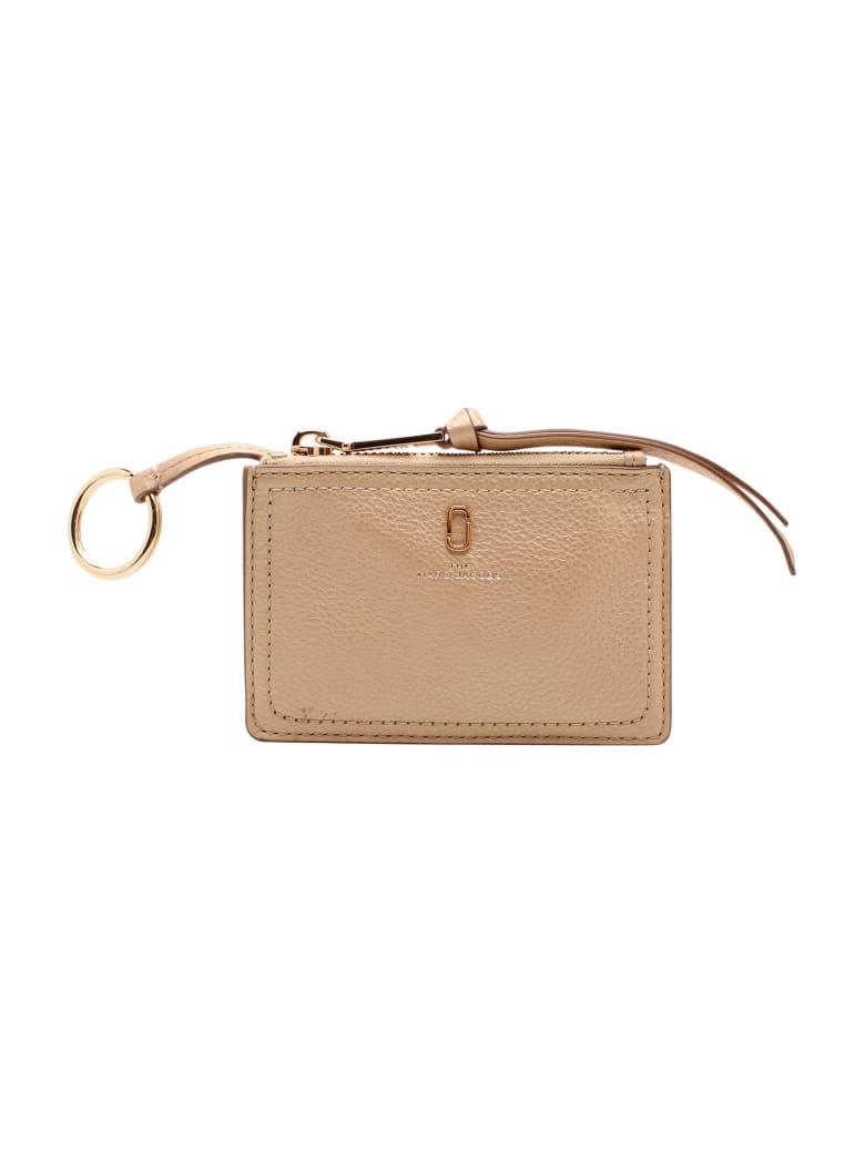 Marc Jacobs 'top Zip' Leaher Wallet - Gold