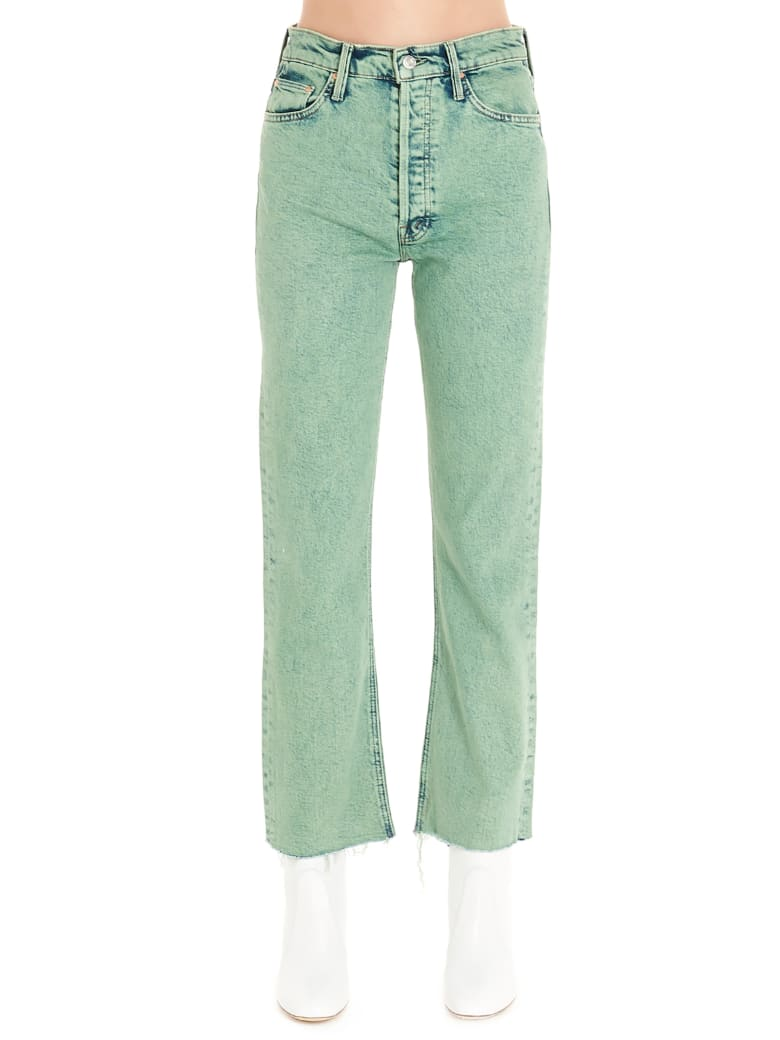 Mother 'tripped Crop Fray' Jeans - Green
