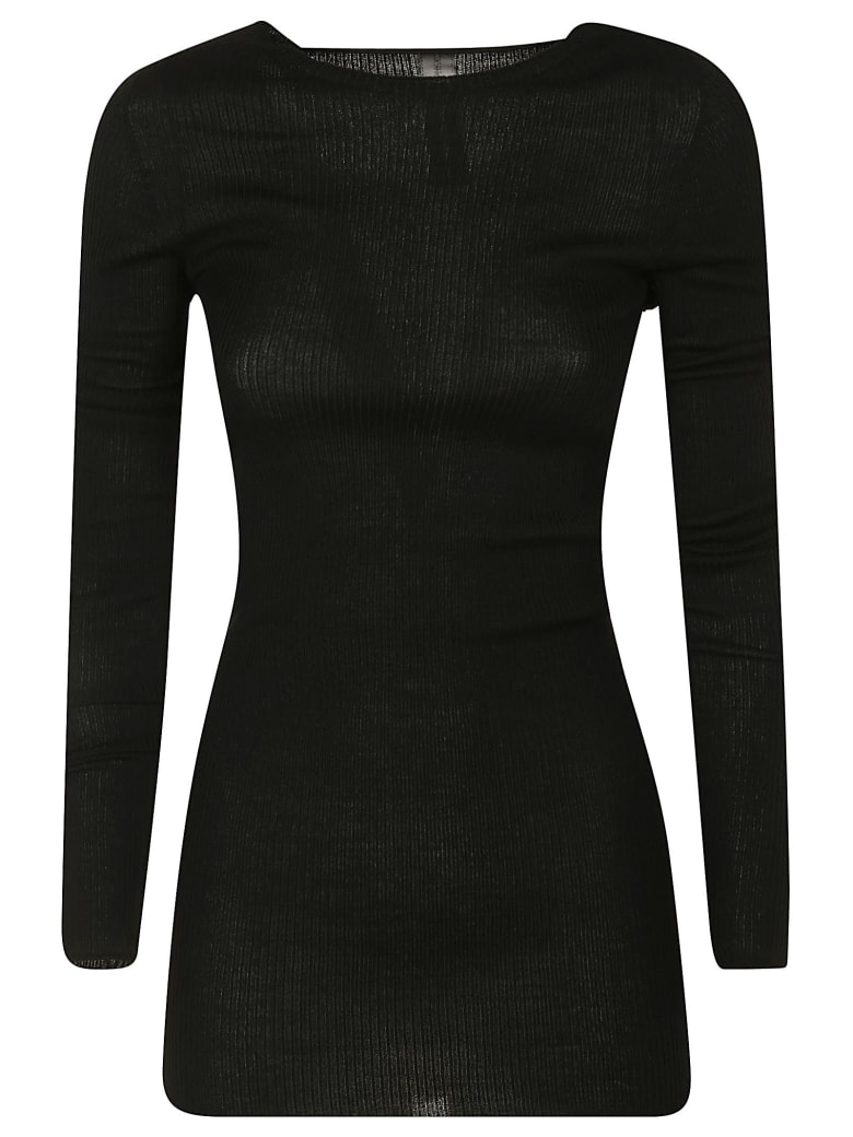 Rick Owens Ribbed Round Neck Pullover - Black