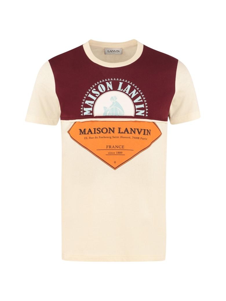 Lanvin Logo Print Cotton T-shirt - Beige
