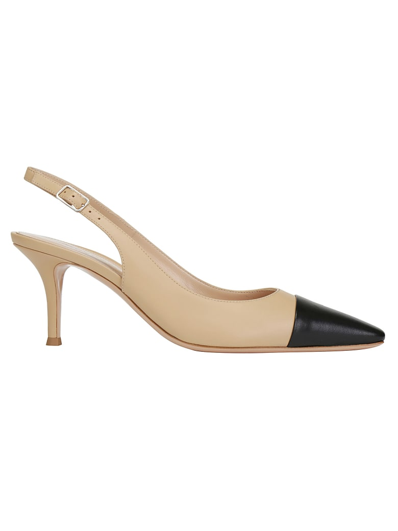 Gianvito Rossi Lucy Slingback Leather Sandal - Black nude