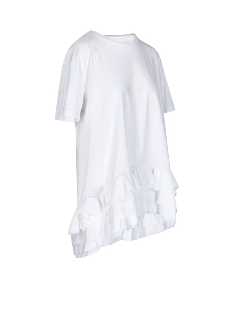 Alexander McQueen Flounced Bottom Oversized T-shirt - Bianco