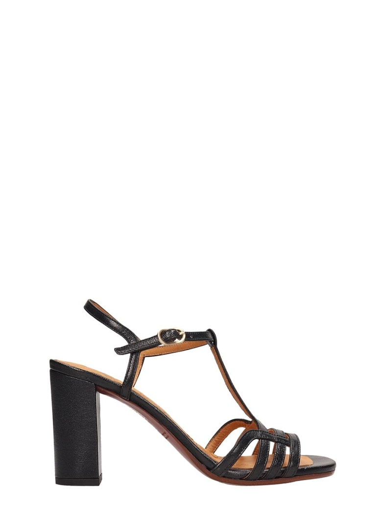 Chie Mihara Black Leather Bely Sandals - black