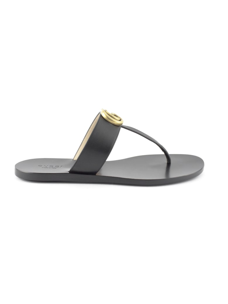 Gucci Black Leather Thong Sandal - Nero