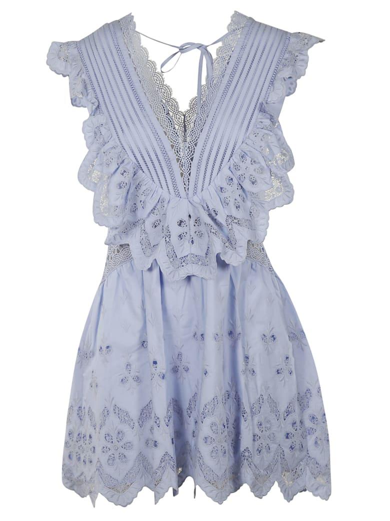 self-portrait V-neck Laced Short Dress - Light Blue