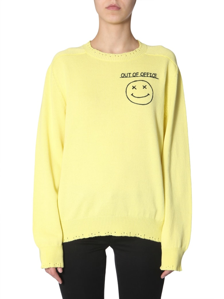 Riccardo Comi Sweater With  Out Of Office  Embroidery - GIALLO