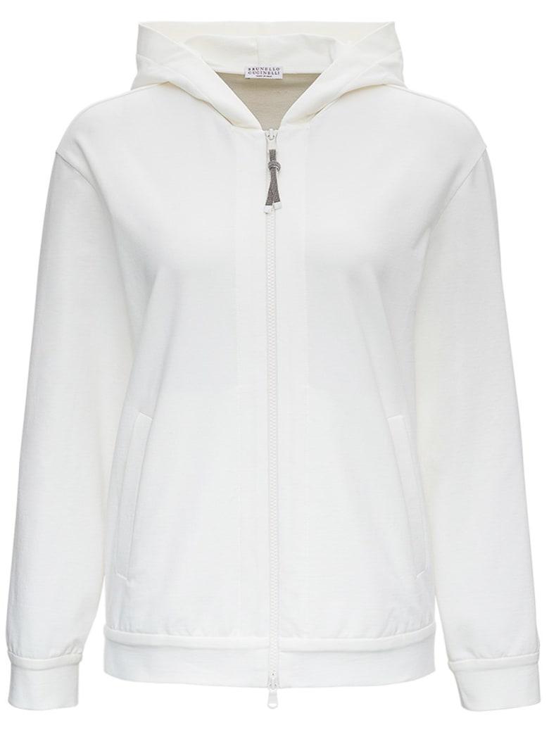 Brunello Cucinelli White Jersey Hoodie With Monile Zip Closure - White