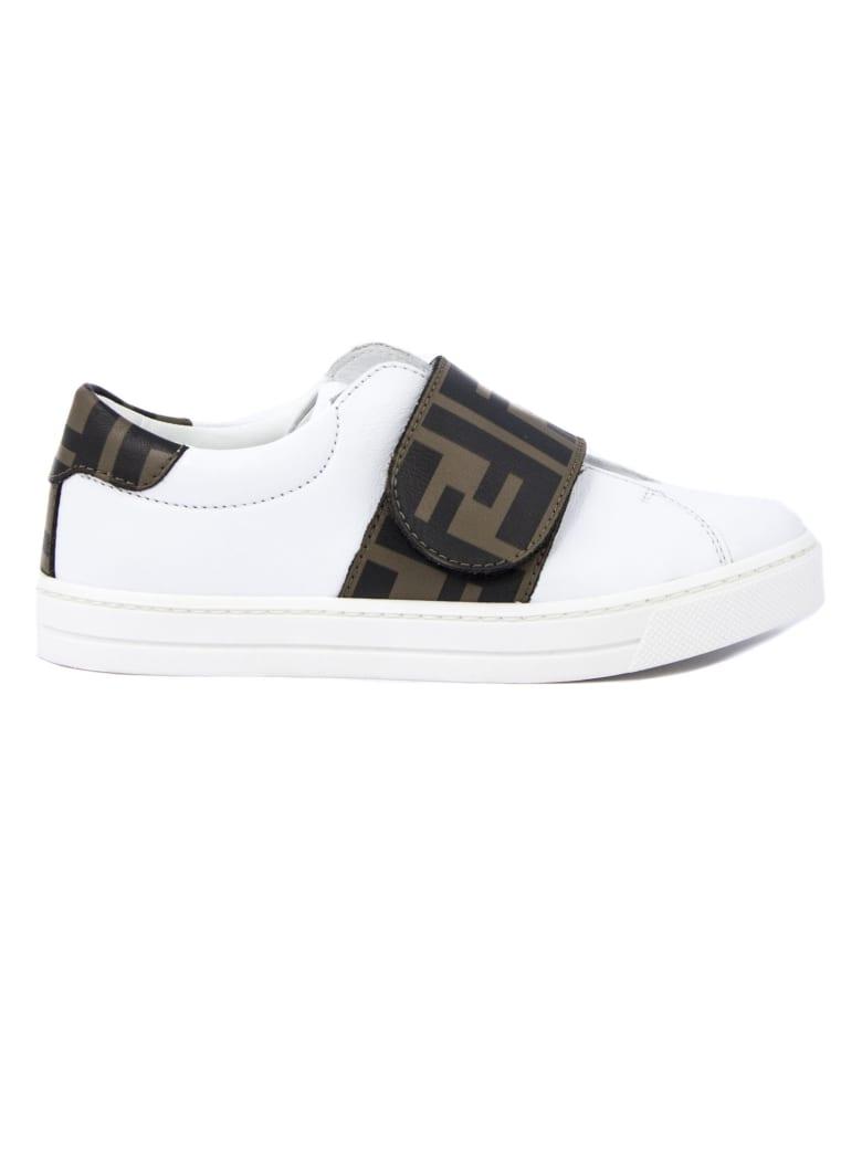 Fendi White Leather Sneakers - Bianco