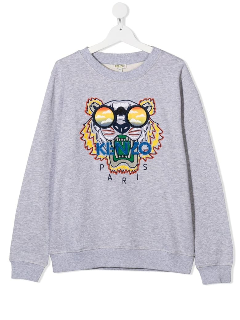Kenzo Kids Sweatshirt With Tiger Embroidery And Logo - Grey