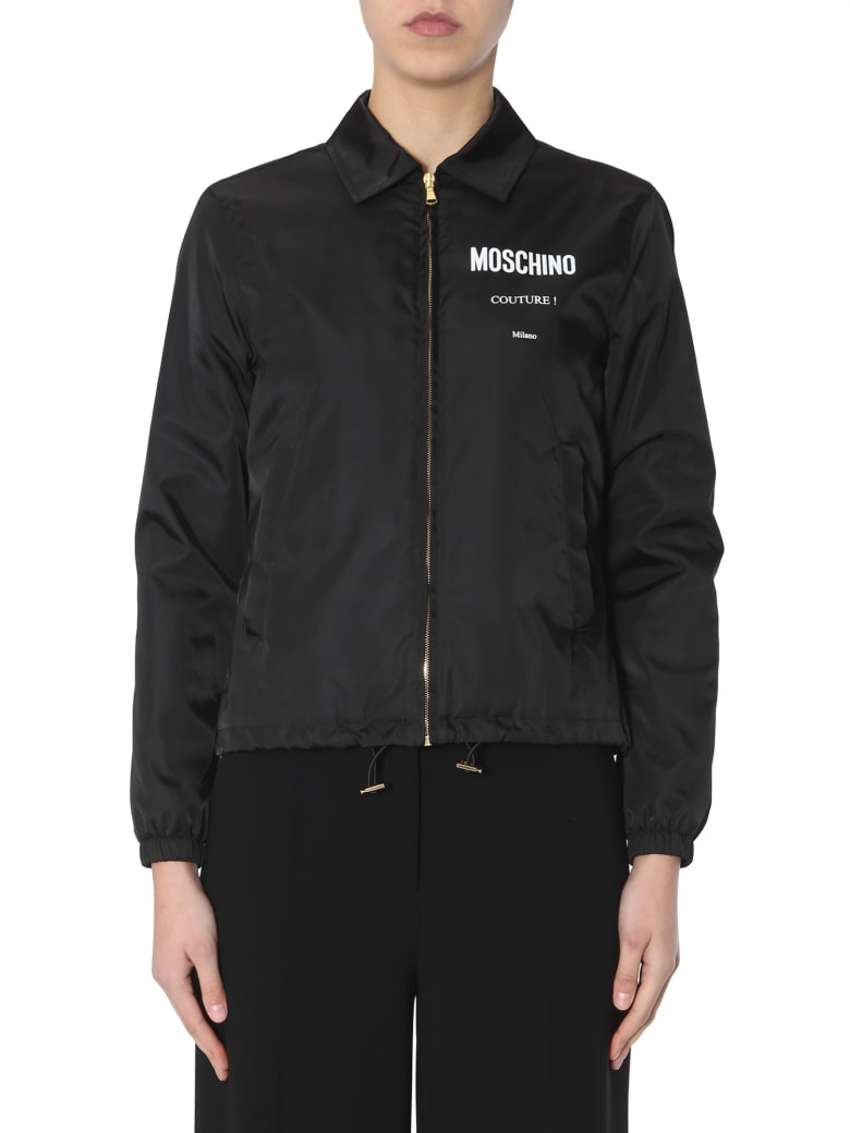 Moschino Bomber With Logo Print - NERO