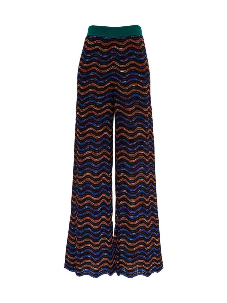 M Missoni Multicolor Wool Blend Trousers - Black