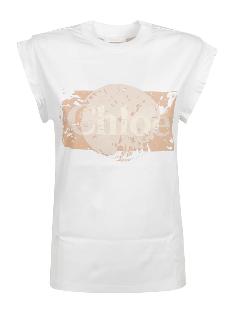 Chloé Logo Print Sleeveless Top - Bianco