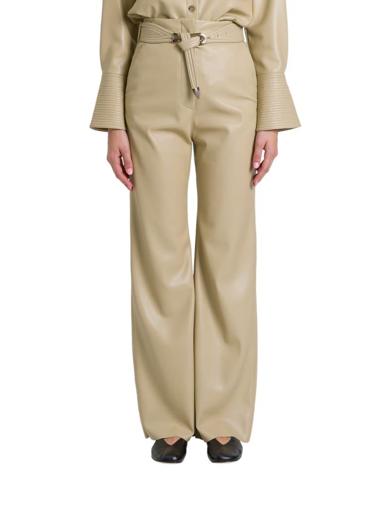Nanushka Kisa Trousers In Vegan Leather - Beige