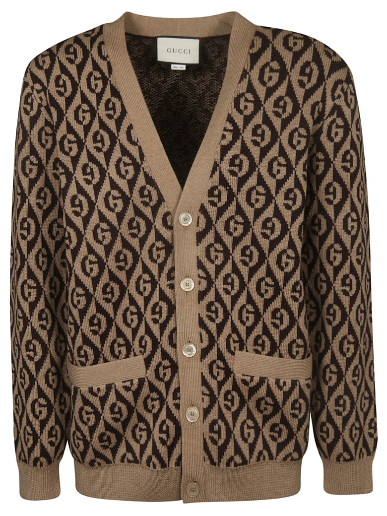 Gucci All Over Logo Cardigan - Camel Brown