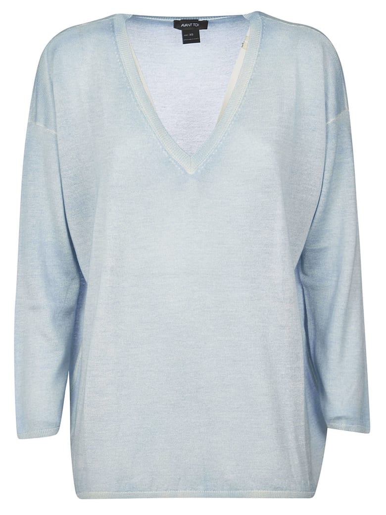 Avant Toi Over Off Gauge Hand Painted Sweater - Chambray