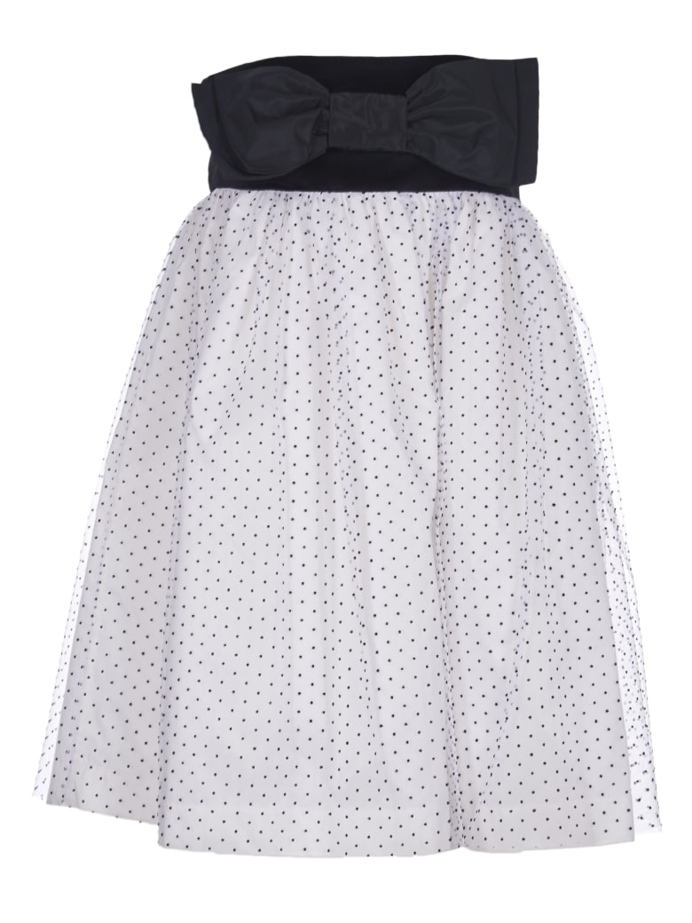 Brognano Dress With Bow And Tulle Skirt - white