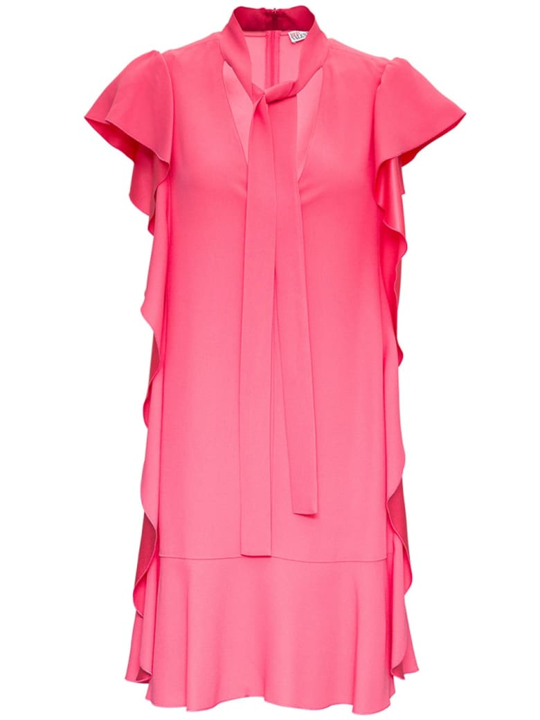 RED Valentino Pink Crepe Dress With Ruches Detail - Pink