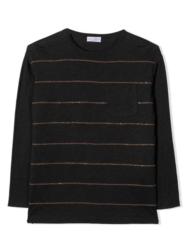 Brunello Cucinelli Dark Grey Cotton Sweater - Antracite