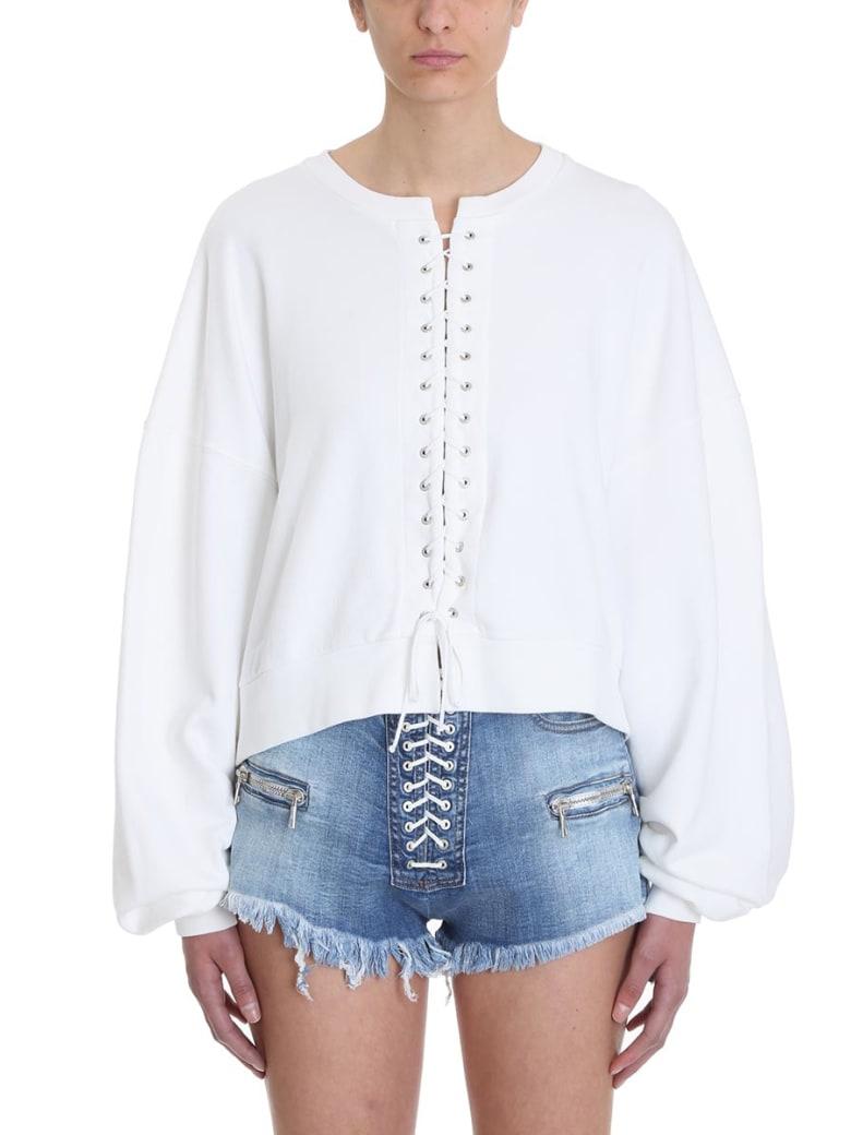Ben Taverniti Unravel Project White French Terry Oversize Lace-up Sweatshirt - white