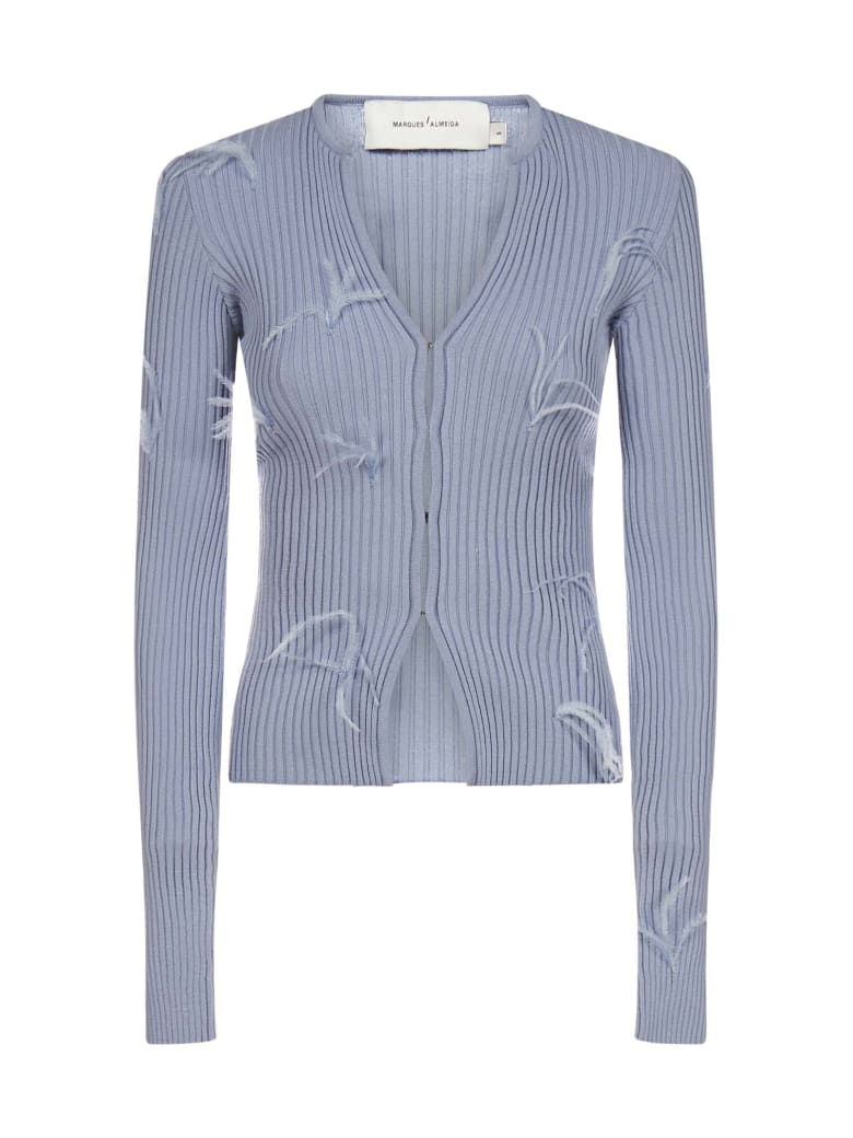 Marques'Almeida Feather-embellished Viscose-knit Cardigan - Light blue