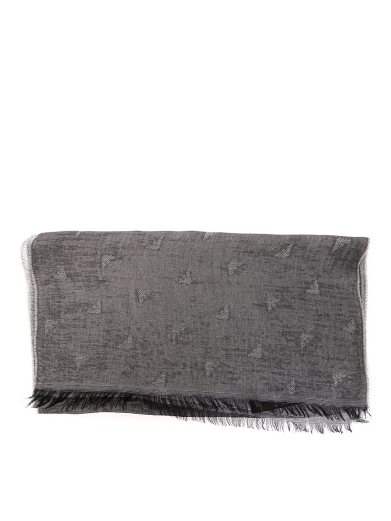 Emporio Armani Grey Logoed Cotton Blend Scarf - Grey