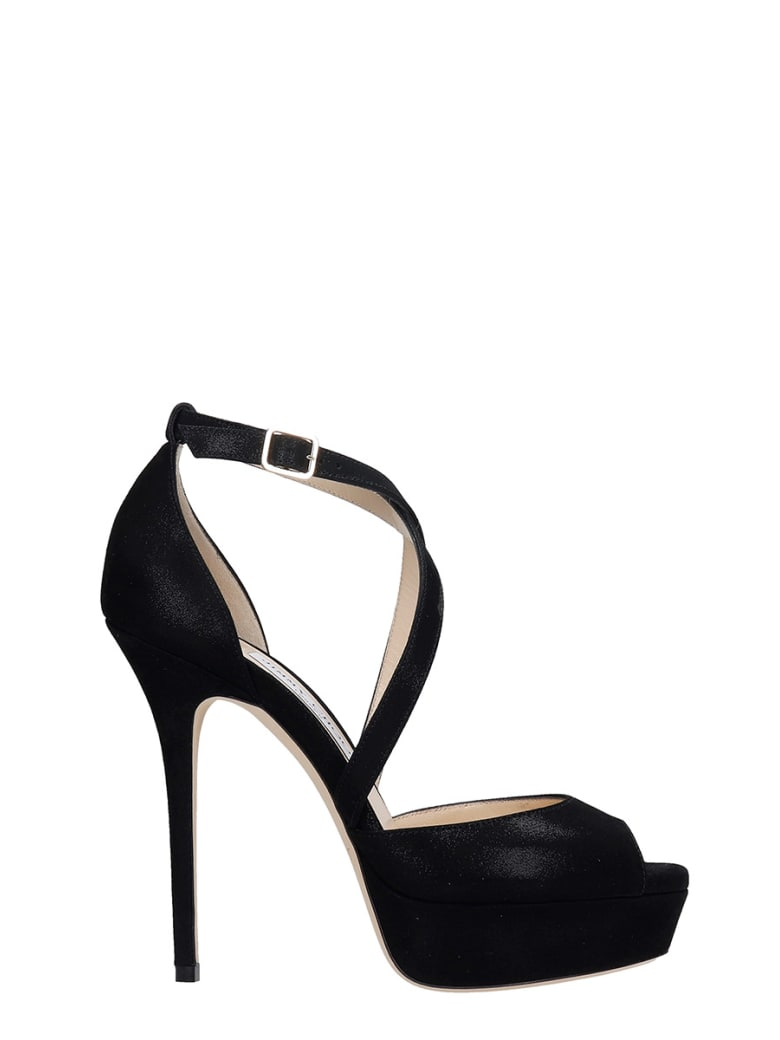 Jimmy Choo Jenique 125 Sandals In Black Suede - black