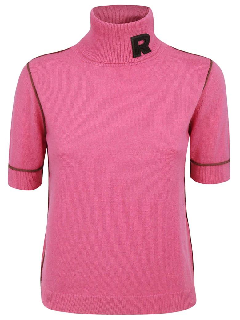 Rochas Roll Neck Logo Sweater - Pink