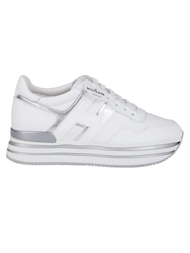 Hogan White And Silver-tone Leather H222 Sneakers - White silver